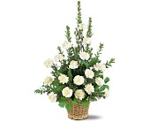 White Simplicity Basket in Milford MA, Francis Flowers, Inc.