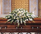 Deluxe Pure White Casket Spray in Staten Island NY, Eltingville Florist Inc.