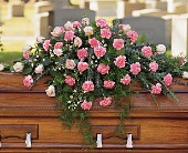 Heavenly Pink Casket Spray in Elkland PA, The Rainbow Rose