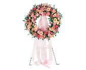 Respectful Pink Wreath in Nationwide MI, Wesley Berry Florist, Inc.