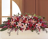 Amethyst and Ruby Casket Spray in Augusta ME, Augusta Florist
