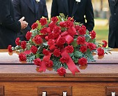 Red Regards Casket Spray in Bismarck, North Dakota, Ken's Flower Shop