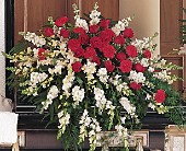 Cherished Moments Casket Spray in Eugene OR, Rhythm & Blooms