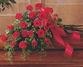 Red Rose Tribute Casket Spray in Augusta ME, Augusta Florist