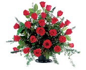 Blooming Red Roses Basket in San Clemente CA, Funeral Flowers Funeral