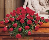 Blooming Red Roses Casket Spray in Augusta ME, Augusta Florist