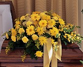 Brighter Blessings Casket Spray in San Clemente CA, Funeral Flowers Funeral