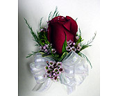 Red Rose & Wax Corsage in Raleigh NC, Gingerbread House Florist - Raleigh NC