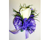 White Rose & Purple Corsage in Raleigh NC, Gingerbread House Florist - Raleigh NC