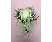 White Rose Corsage in Raleigh NC, Gingerbread House Florist - Raleigh NC