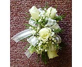 5 White Mini Rose Corsage in Raleigh NC, Gingerbread House Florist - Raleigh NC