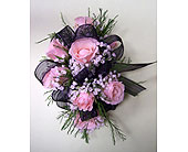 7 Pink Mini Rose Corsage in Raleigh NC, Gingerbread House Florist - Raleigh NC