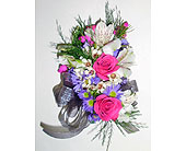 Pink & Purple Mixed Flower Corsage in Raleigh NC, Gingerbread House Florist - Raleigh NC