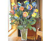 12 Rainbow Roses in Pleasanton TX, Pleasanton Floral