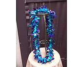 Single (dyed) Blue Bombay Orchid Lei in West Los Angeles CA, Westwood Flower Garden