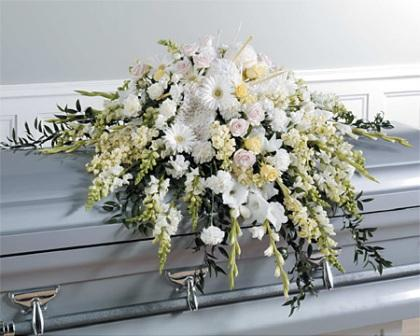 Glory of White Casket Spray in Waterbury CT, The Orchid Florist