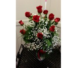 12 Long Stem Roses in Vase in Greensboro NC, Send Your Love Florist & Gifts
