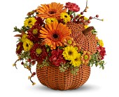 Wicker Pumpkin Bouquet in New York NY, Sterling Blooms
