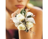 White Mini Roses Wristlet in Batavia, Illinois, Batavia Floral in Bloom, Inc