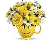 Teleflora's Be Happy Bouquet with Roses in Belleville ON, Live, Love and Laugh Flowers, Antiques and Gifts