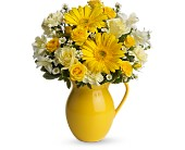 Teleflora's Sunny Day Pitcher of Cheer in The Woodlands TX, Botanical Flowers and Gifts