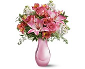 Teleflora's Pink Reflections Bouquet with Roses in Burnaby BC, Lotus Flower & Terra Plants