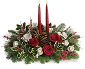 San Leandro Flowers - Christmas Wishes Centerpiece - Floral Accent and Gift Baskets