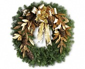 Glitter & Gold Wreath in Jackson CA, Gordon Hill Flower Shop