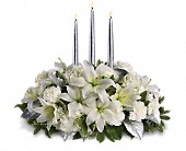 Silver Elegance Centerpiece in Newport Beach, California, Flowers De Monet