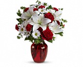 Magnolia Flowers - Be My Love Bouquet with Red Roses - Antique Rose