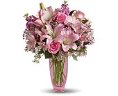 Teleflora's Pink Pink Bouquet with Pink Roses in Burnaby BC, Lotus Flower & Terra Plants