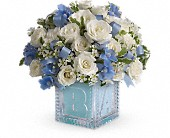 Baby's First Block by Teleflora - Blue in Statesville NC, Downtown Blossoms