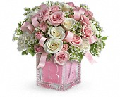 Baby's First Block by Teleflora - Pink in Huntington NY, Queen Anne Flowers, Inc