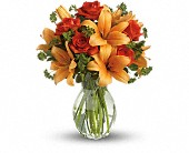 Fiery Lily and Rose in Riverside CA, Mullens Flowers