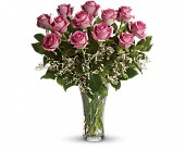 Make Me Blush - Dozen Long Stemmed Pink Roses in Pella IA, Thistles