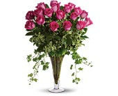 Dreaming in Pink - Long Stemmed Pink Roses in Santa Claus IN, Evergreen Flowers & Decor