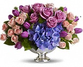 Teleflora's Purple Elegance Centerpiece in Baton Rouge LA, Hunt's Flowers