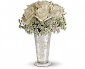 Teleflora's White Lace Centerpiece in Brook Park OH, Petals of Love