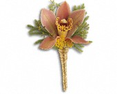 Sunset Orchid Boutonniere in Cerritos CA, The White Lotus Florist