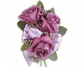 Soft Lavender Corsage in East Quogue NY, Roses And Rice