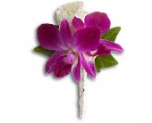 Fresh in Fuchsia Boutonniere in Edmonton AB, Petals For Less Ltd.
