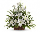 Peaceful White Lilies Basket in Santa Claus, Indiana, Evergreen Flowers & Decor