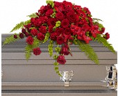 Red Rose Sanctuary Casket Spray in San Mateo CA, Blossoms Flower Shop