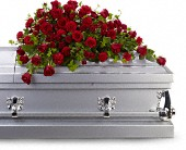 Red Rose Reverence Casket Spray in Elkland PA, The Rainbow Rose