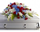 Distinguished Service Casket Spray in East Quogue NY, Roses And Rice