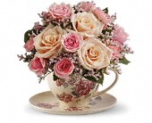 Teleflora's Victorian Teacup Bouquet in Show Low AZ, The Morning Rose