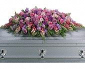 Lavender Tribute Casket Spray in East Quogue NY, Roses And Rice