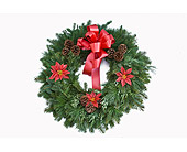 Red Evergreen Cemetery Wreaths in Mount Morris MI, June's Floral Company & Fruit Bouquets