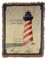Footprints in the Sand Lighthouse Tapestry Throw in Indianapolis IN, Steve's Flowers and Gifts