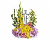 Teleflora's Crystal Cross Bouquet in Burlington WI, gia bella Flowers and Gifts
